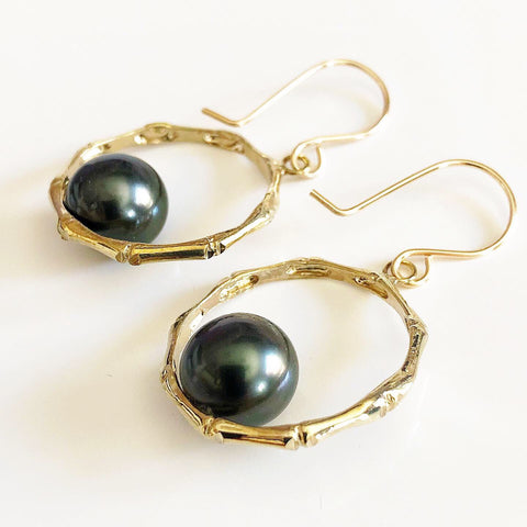 Bamboo hoops earrings - tahitian pearls (E546)