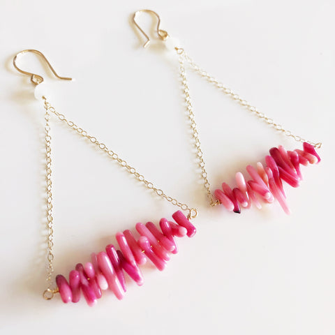 Earrings RIKO - pink coral branches (E111)