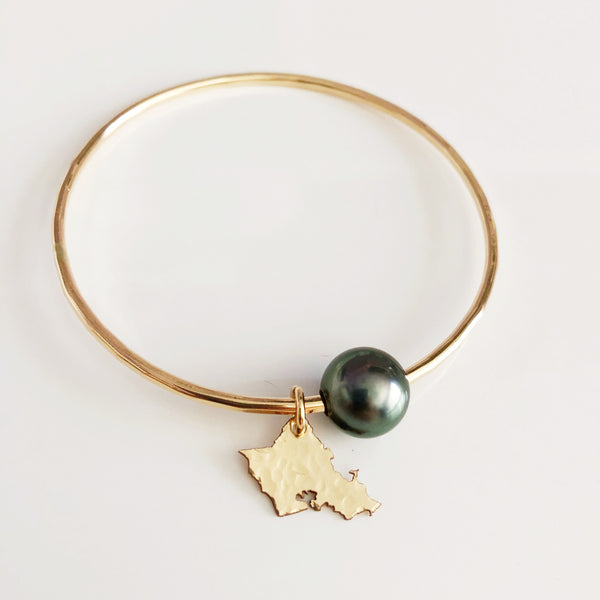 Oahu charm bangle - tahitian pearl (B383)