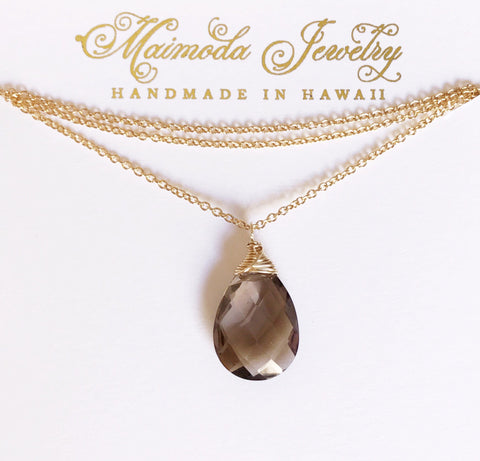 Necklace Yazmin - smoky quartz (N193)