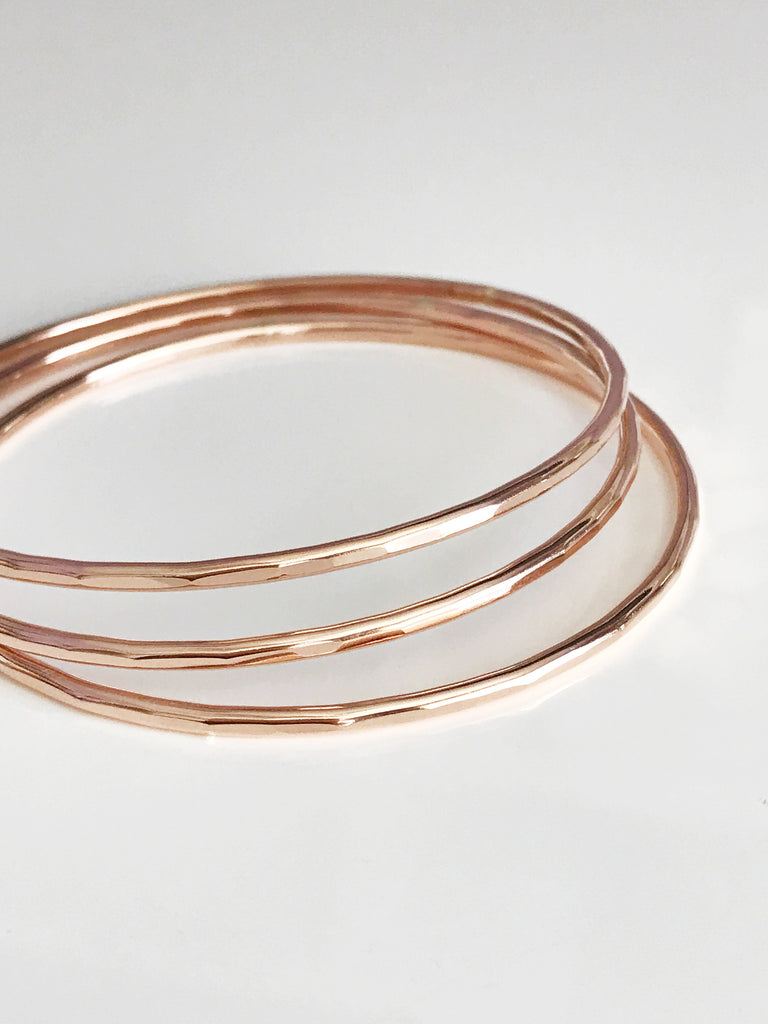 Carly bangles set- rose gold (B183)