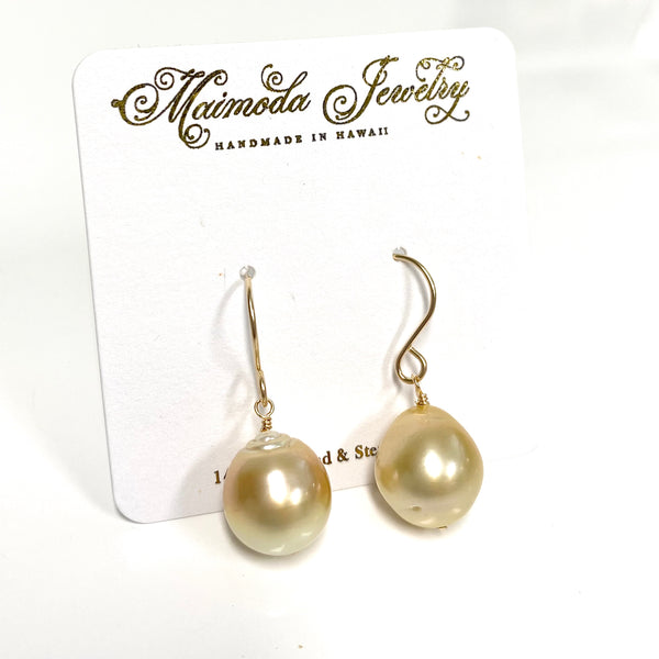 Gold south sea pearl dangle (E593)