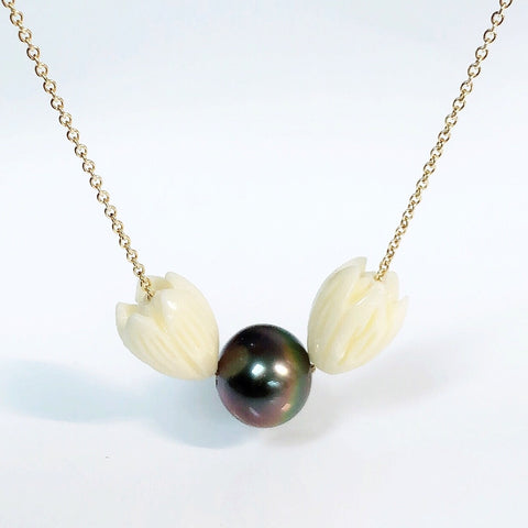 Pikake necklace - tahitian pearl  (N327)