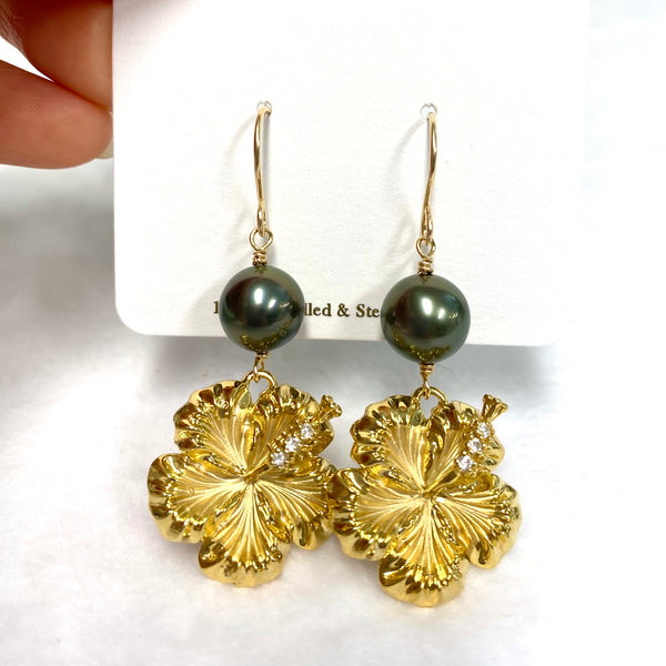 CZ Hibiscus earrings - Tahitian pearls