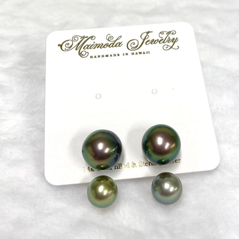 Double Tahitian pearls studs