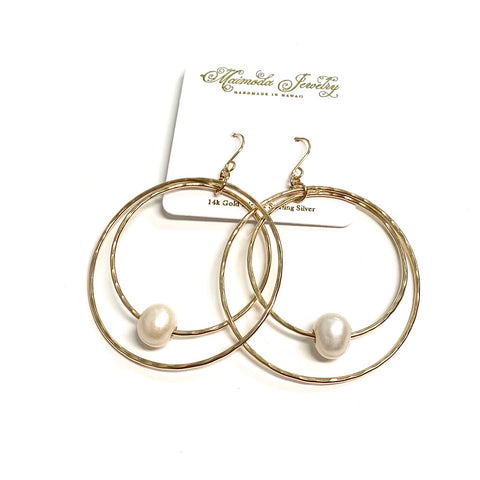 Earrings MOMILANI - white Edison pearls (R585)