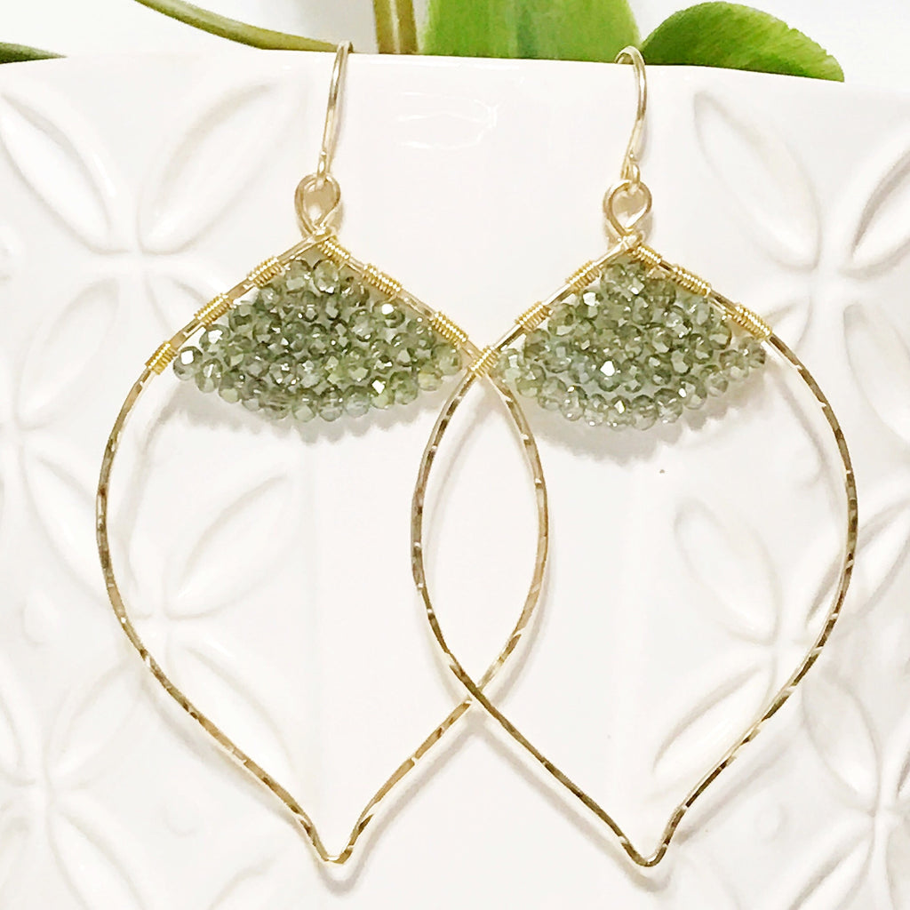 Earrings Malie- olive green quartz (E326)
