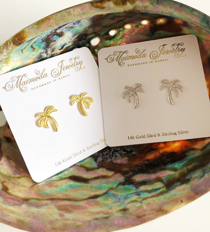 Palm tree stud earrings (E463)