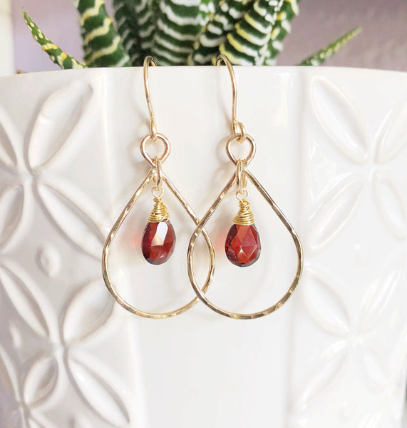 Earrings IRINA- garnet (E464)