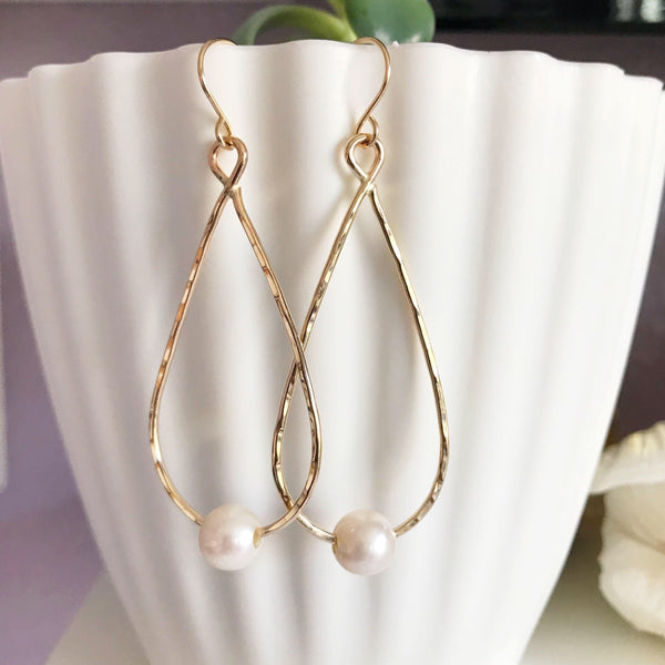 Earrings ETHEL - white pearls