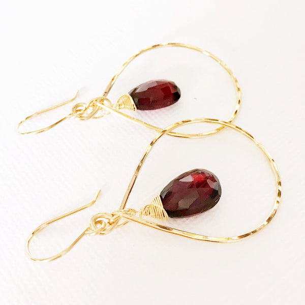 Earrings Hana - Garnet (E325)