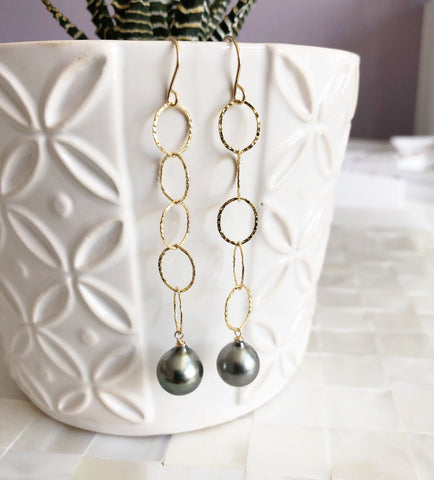 Earrings ABELLA - tahitian pearls (E533)
