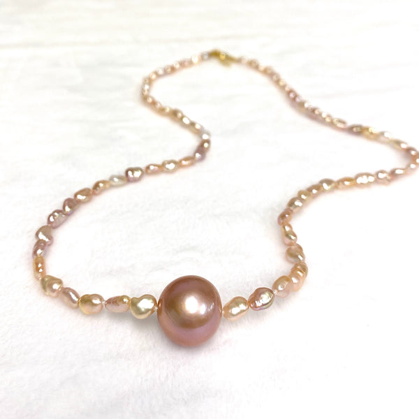 Necklace TARA - pink keshi Edison pearls (N359)