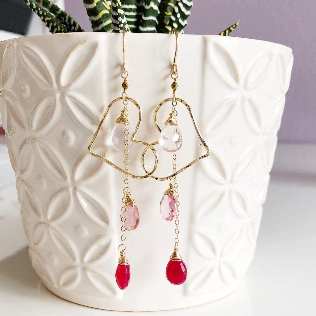 Earrings AIKO - pink ombré (E465)