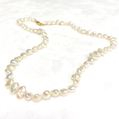 White Keshi pearls necklace (N374)