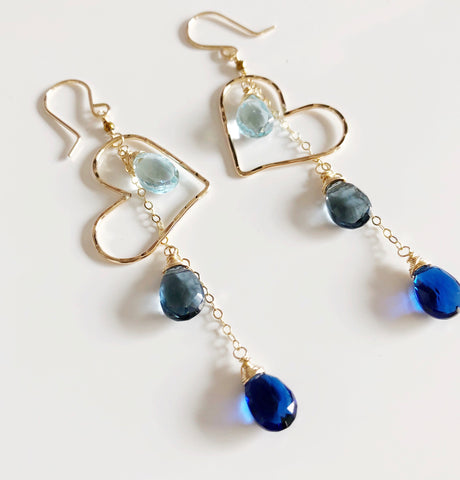Earrings Aiko - blue quartz(E213)