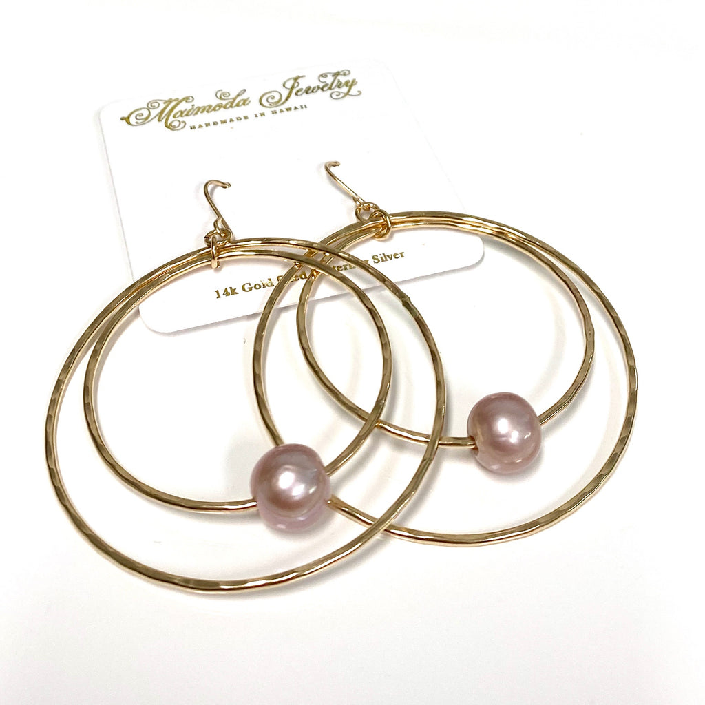 Earrings MOMILANI - pink Edison pearls (E588)