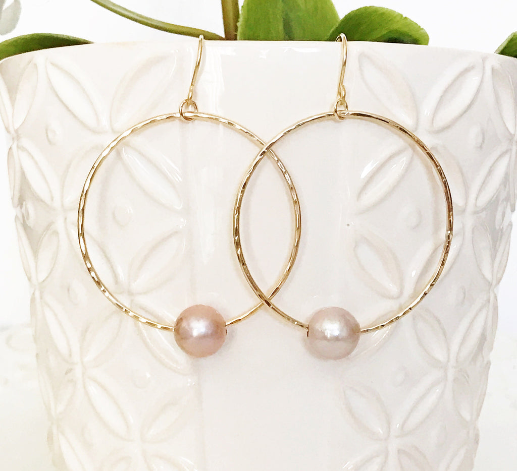 Earrings Sirena - pink pearls (E323)