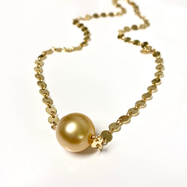 Necklace FAE - golden south sea pearl (N334)