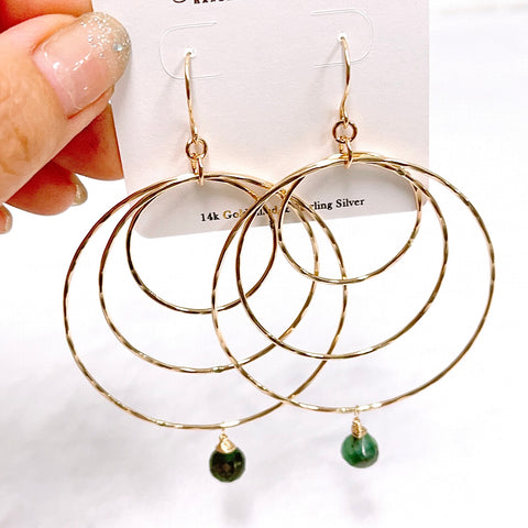 Emerald hoops earrings (E612)