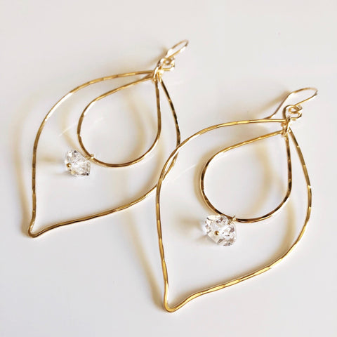Earrings Yoshiko - herkimer diamond (E368)