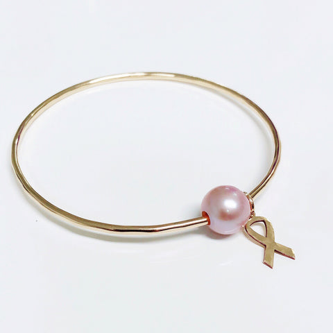 Cancer awareness bangle - pink Edison pearl  (B346)