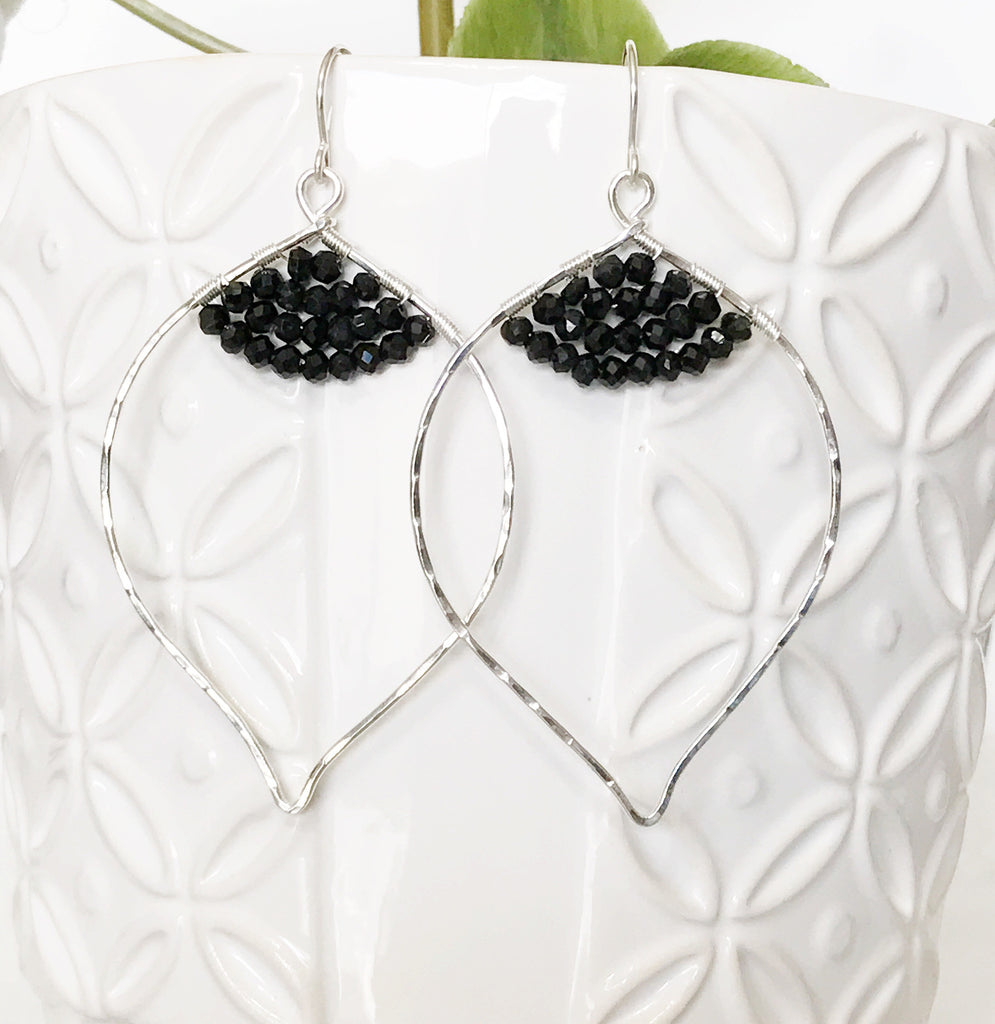 Earrings Malie - black spinel  (E209)