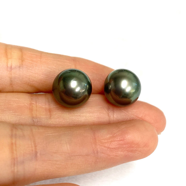 12mm Tahitian pearl studs earrings (E602)