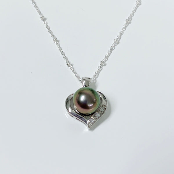 CZ heart pendant necklace - Tahitian pearl (N329)