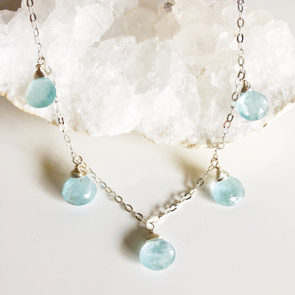 Necklace IVANNA - aquamarine (N276)