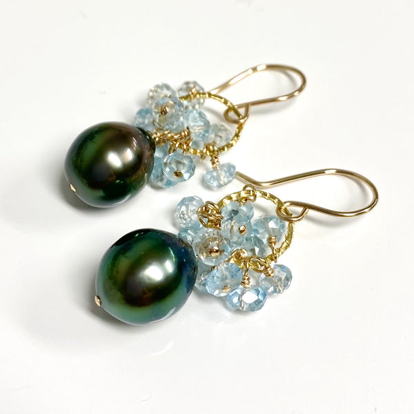 Earrings KIRA - aquamarine (E578)