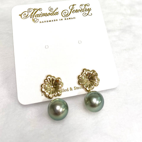 Earrings Haiku - pua & pistachio Tahitian pearls (E564)