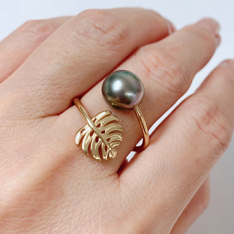 Mini monstera ring - Tahitian pearl (R210)
