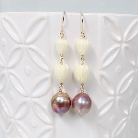 Pikake earrings - Edison pearl (E566)