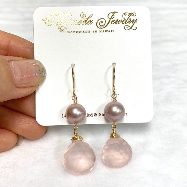 Pink Edison and rose quartz earrings