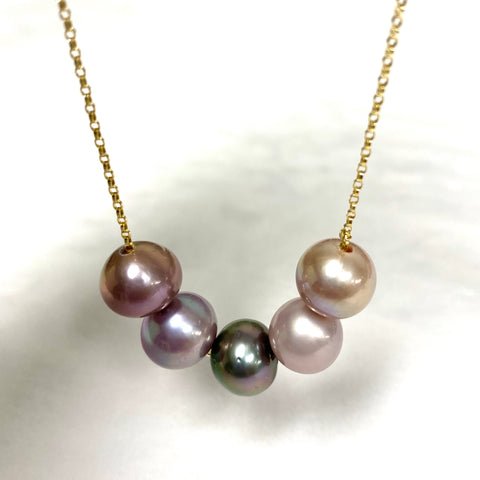 Necklace AURA - lavender Edison and Tahitian pearls (N366)