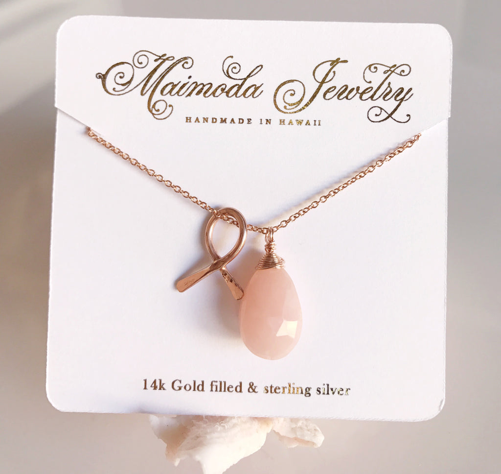 Cancer awareness necklace - pink opal (N196)