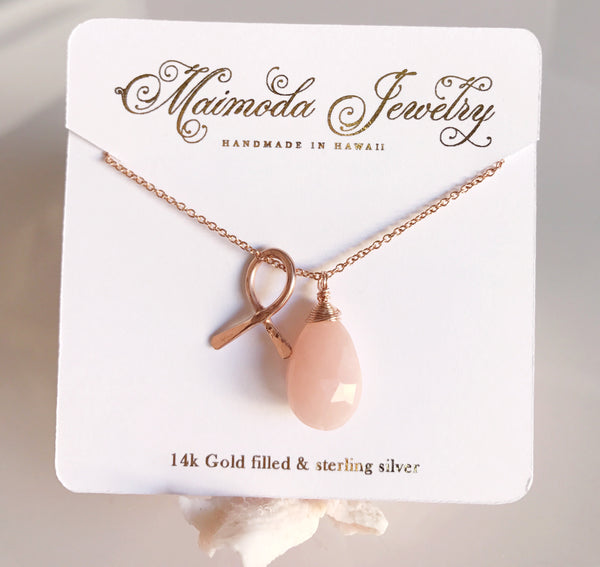 Breast cancer awareness necklace - pink opal (N196)