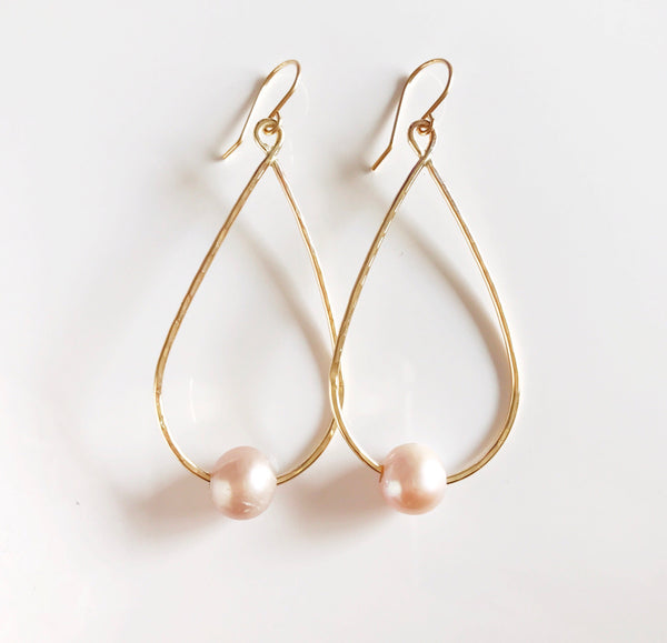 Earrings Ethel - pink pearls (E395)