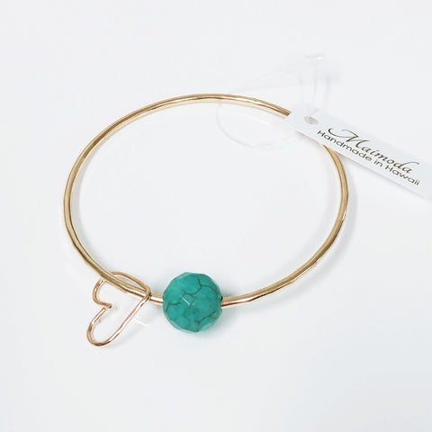 Turquoise bead bangle (B215)