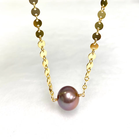 Necklace FAE - purple Edison pearl (N372)