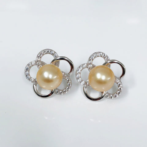 CZ plumeria stud earrings - gold south sea pearl (E569)