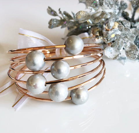 Bangle Mika - Silver pearl  (B113)
