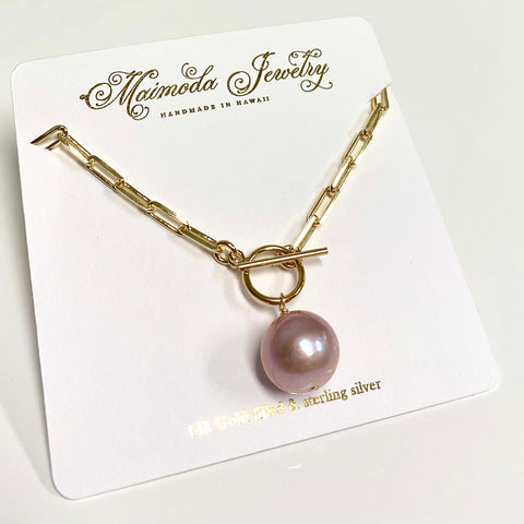 Necklace ARIELLA - pink Edison pearl (N336)