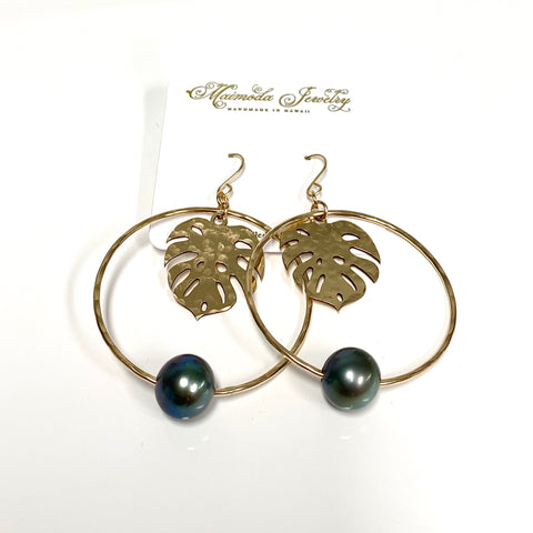Earrings BELLA - Tahitian pearl (E589)