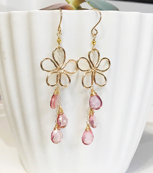 Earrings Suri - pink quartz (E311)