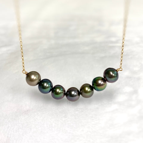 7 Tahitian pearls bar necklace