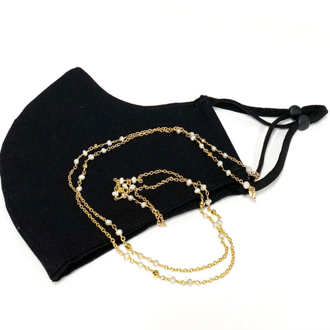 Mask chain - pearl & gold pyrite