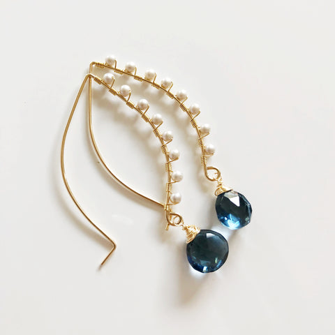 Earrings AILANI- London blue quartz (E466)