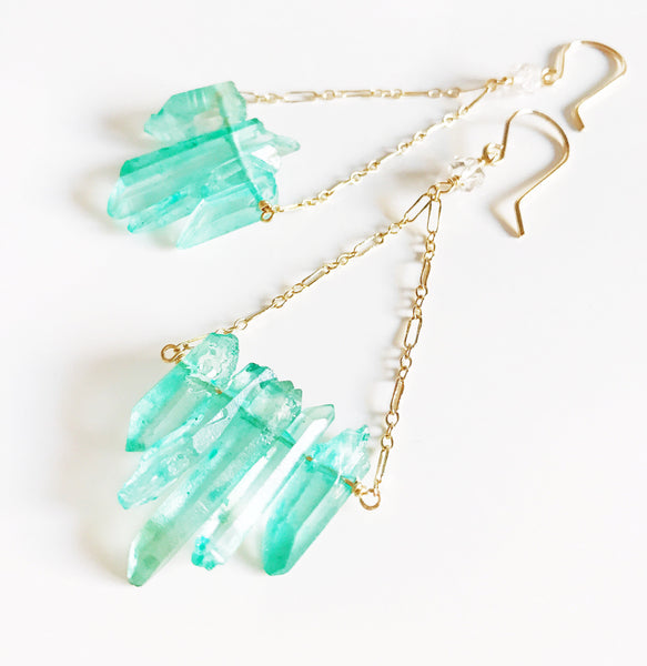Earrings Riko - aqua crystal points (E372)